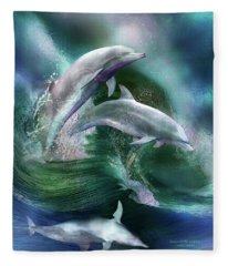 Fleece Blanket featuring the mixed media Dance Of The Dolphins by Carol Cavalaris