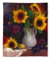 Dance With Me - Sunflower Still Life Fleece Blanket