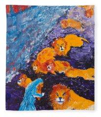 Daniel And The Lions Fleece Blanket