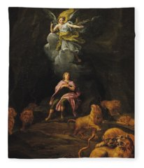 Daniel In The Den Of Lions Oil On Canvas Fleece Blanket