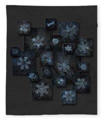 Snowflake Collage - Dark Crystals 2012-2014 Fleece Blanket