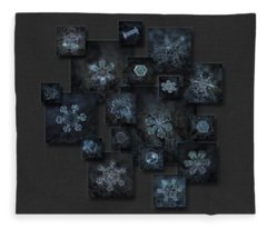 Snowflake Collage - Dark Crystals 2012-2014 Fleece Blanket