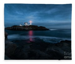 Dark Night At The Nubble Fleece Blanket