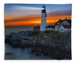 Dawn At Portalnd Head Light Fleece Blanket