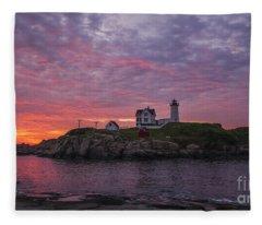 Dawn At The Nubble Fleece Blanket
