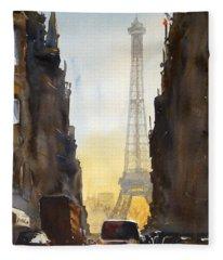 Dawn In Paris Fleece Blanket