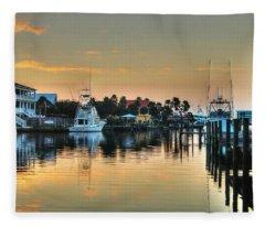 Dawn On A Orange Beach Canal Fleece Blanket
