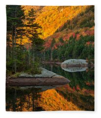Dawns Foliage Reflection Fleece Blanket