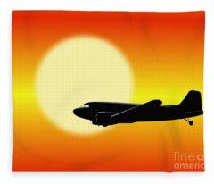 Dc-3 Passing Sun Fleece Blanket
