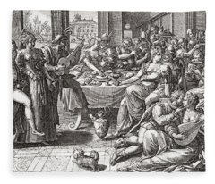 Debauchery And Licentiousness In The 16th Century, After The Painting By Marten De Vos.  From Fleece Blanket
