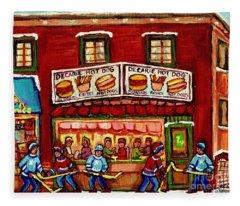 Decarie Hot Dog Restaurant Cosmix Comic Store Montreal Paintings Hockey Art Winter Scenes C Spandau Fleece Blanket