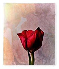 Deep Red Tulip On Pale Tulip Background Fleece Blanket