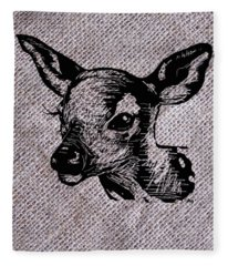 Deer On Burlap Fleece Blanket