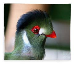 Delicate Green Turaco Bird With Red Beak White Patches And Black Crown Fleece Blanket