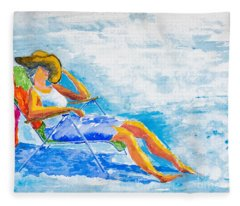 Dena At The Beach Fleece Blanket