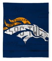 Denver Broncos Football Team Retro Logo Colorado License Plate Art Fleece Blanket