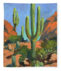 Desert Morning Saguaro Fleece Blanket