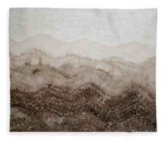 Desert Mountain Mist Original Painting Fleece Blanket