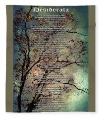 Desiderata Inspiration Over Old Textured Tree Fleece Blanket