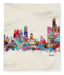 Detroit Michigan Skyline Square Fleece Blanket