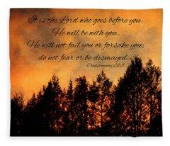 Deuteronomy The Lord Goes Before You Fleece Blanket