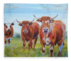Devon Cattle Fleece Blanket