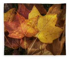 Dew On Autumn Leaves Fleece Blanket