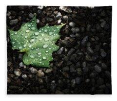 Dew On Leaf Fleece Blanket