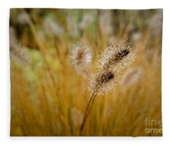 Dew On Ornamental Grass No. 4 Fleece Blanket