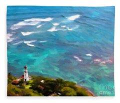 Diamond Head Lighthouse View Fleece Blanket
