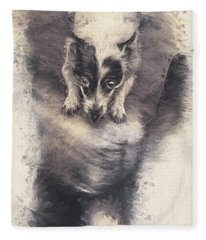 Digital Artwork Of A Mini Fox Terrier Dog Fleece Blanket