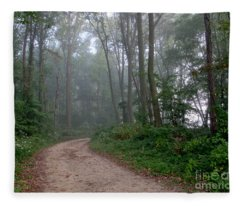 Dirt Path In Forest Woods With Mist Fleece Blanket