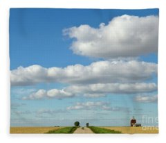 Dirt Road And Grain Elevator Williston Fleece Blanket