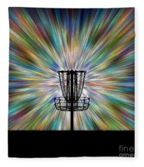 Disc Golf Basket Silhouette Fleece Blanket