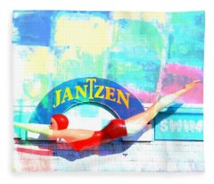 Diving Girl Colors Fleece Blanket
