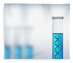Dna Research Or Testing In A Laboratory Fleece Blanket