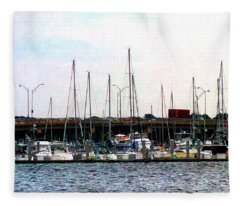 Docked Boats Norfolk Va Fleece Blanket