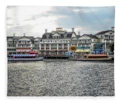 Docking At The Boardwalk Walt Disney World Fleece Blanket