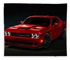 Dodge Challenger S R T Hellcat Fleece Blanket