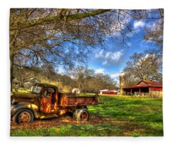 Dodge Dump Truck Farm Barn Scene Fleece Blanket