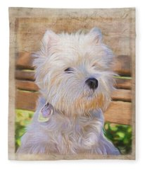 Dog Art - Just One Look Fleece Blanket