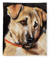 Dog Portrait Drawing Fleece Blanket