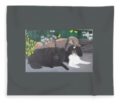 Dogs Daisy And Buttons Fleece Blanket