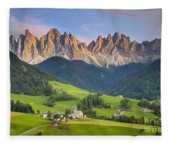 Dolomites From Val Di Funes Fleece Blanket