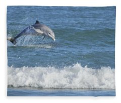 Dolphin In Surf Fleece Blanket
