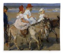 Donkey Rides Along The Beach Fleece Blanket