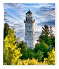 Door County Cana Island Beacon Fleece Blanket