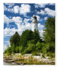 Cana Island Lighthouse Cloudscape In Door County Fleece Blanket