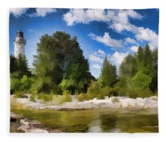 Door County Cana Island Lighthouse Panorama Fleece Blanket
