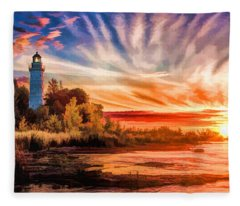 Door County Cana Island Lighthouse Sunrise Panorama Fleece Blanket